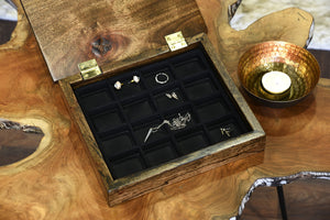 Reclaimed Wood Jewelry Organizer - 16 Compartment
