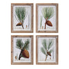 Rustic Pine Tree and Pine Cone Winter Wall Art - Set of Four
