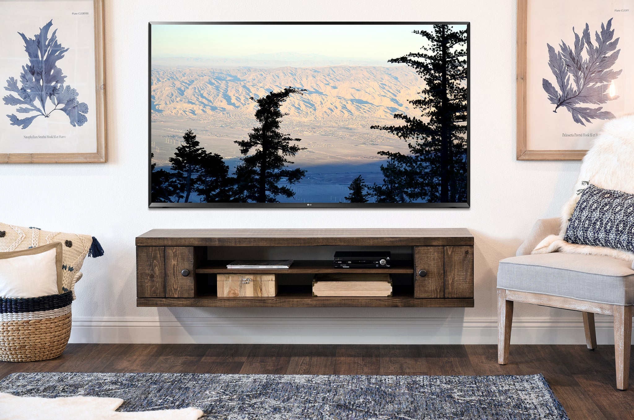 Rustic Barn Wood Style Floating TV Stand - Farmhouse - Spice - OB 30% OFF!