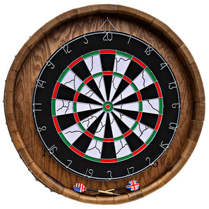 Rustic Reclaimed Wood Wine Barrel Head Dartboard Game