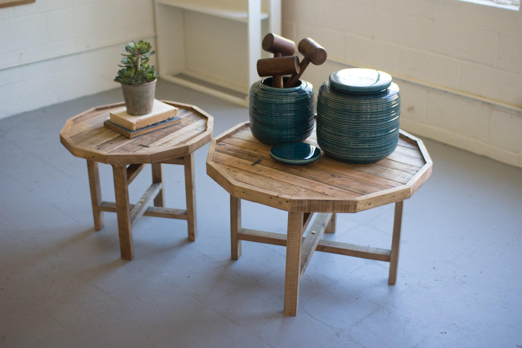 Rustic Recycled Reclaimed Wood Coffee Tables Set of Two Woodwaves