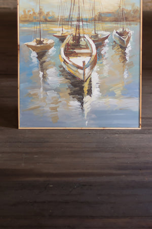 Sailboat Harbor Oil Painting With Wood Frame