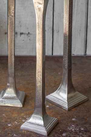 Rustic Silver Finish Tall Taper Candle Holders - Set of 3