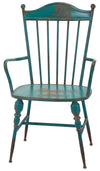 Rustic Teal Blue Metal Farmhouse Industrial Modern Arm Chairs - Set of 2