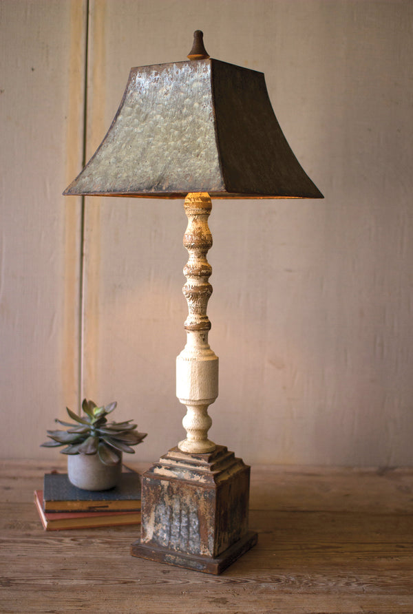 Rustic Turned Wood Banister Table Lamp With Metal Shade
