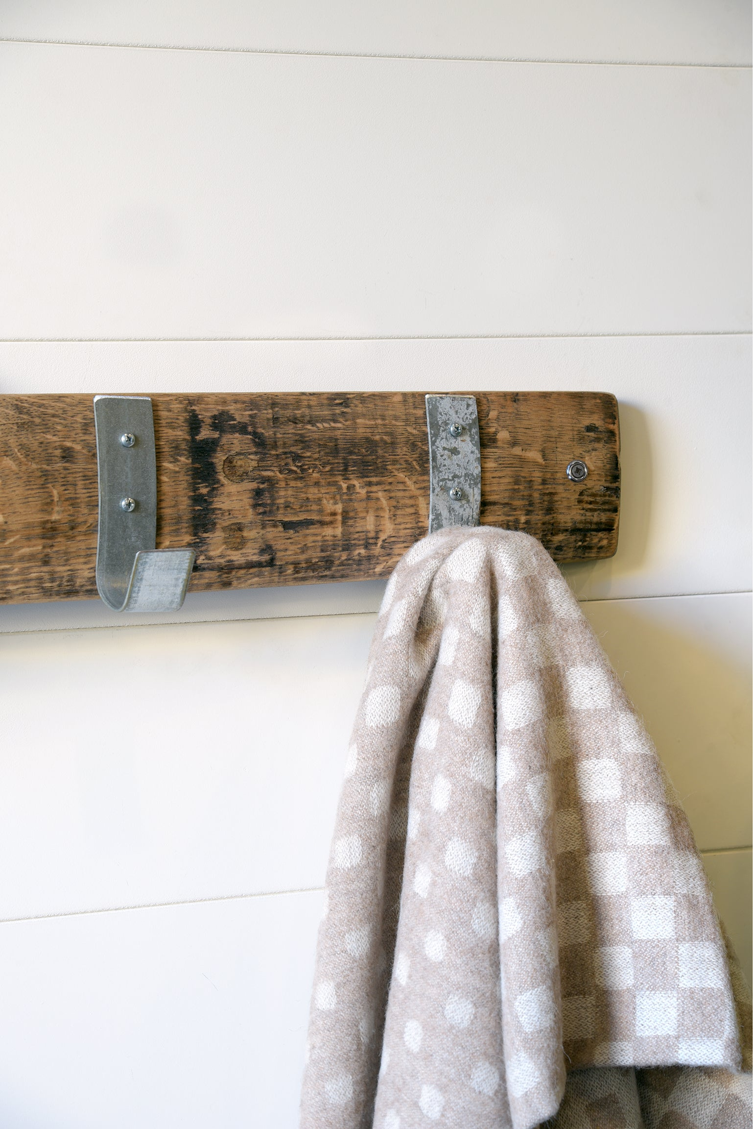 Wall Mount Coat Rack Hooks On Reclaimed Wood Barrel Stave