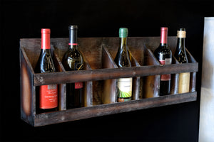 Floating Wall Mount Rustic Distressed Wood Wine Rack
