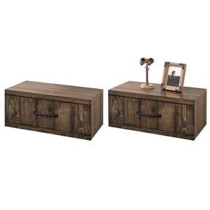 Rustic Wall Mounted Nightstands - Farmhouse Floating Drawers - Spice - Set of 2