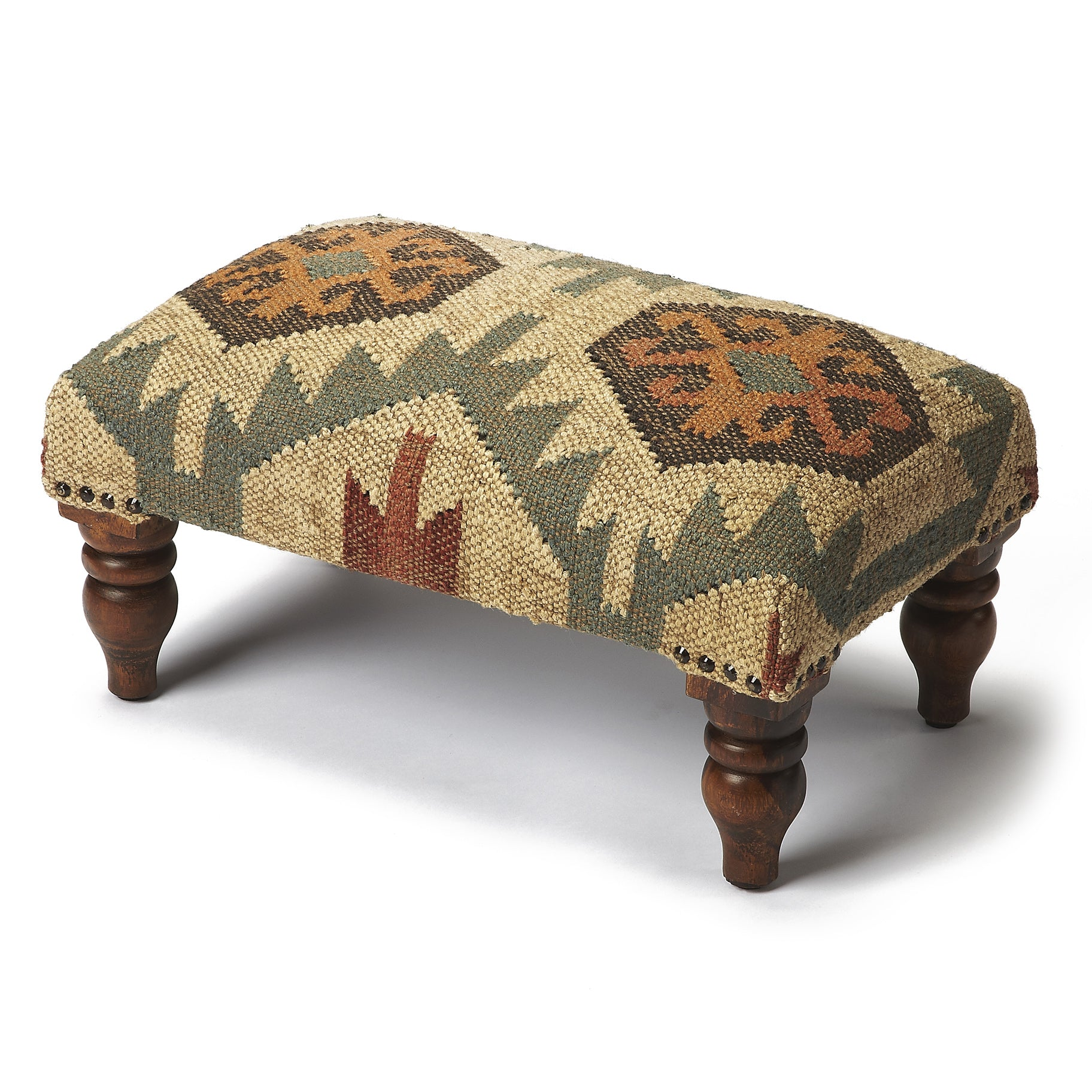 Rustic Southwest Jute and Wood Ottoman