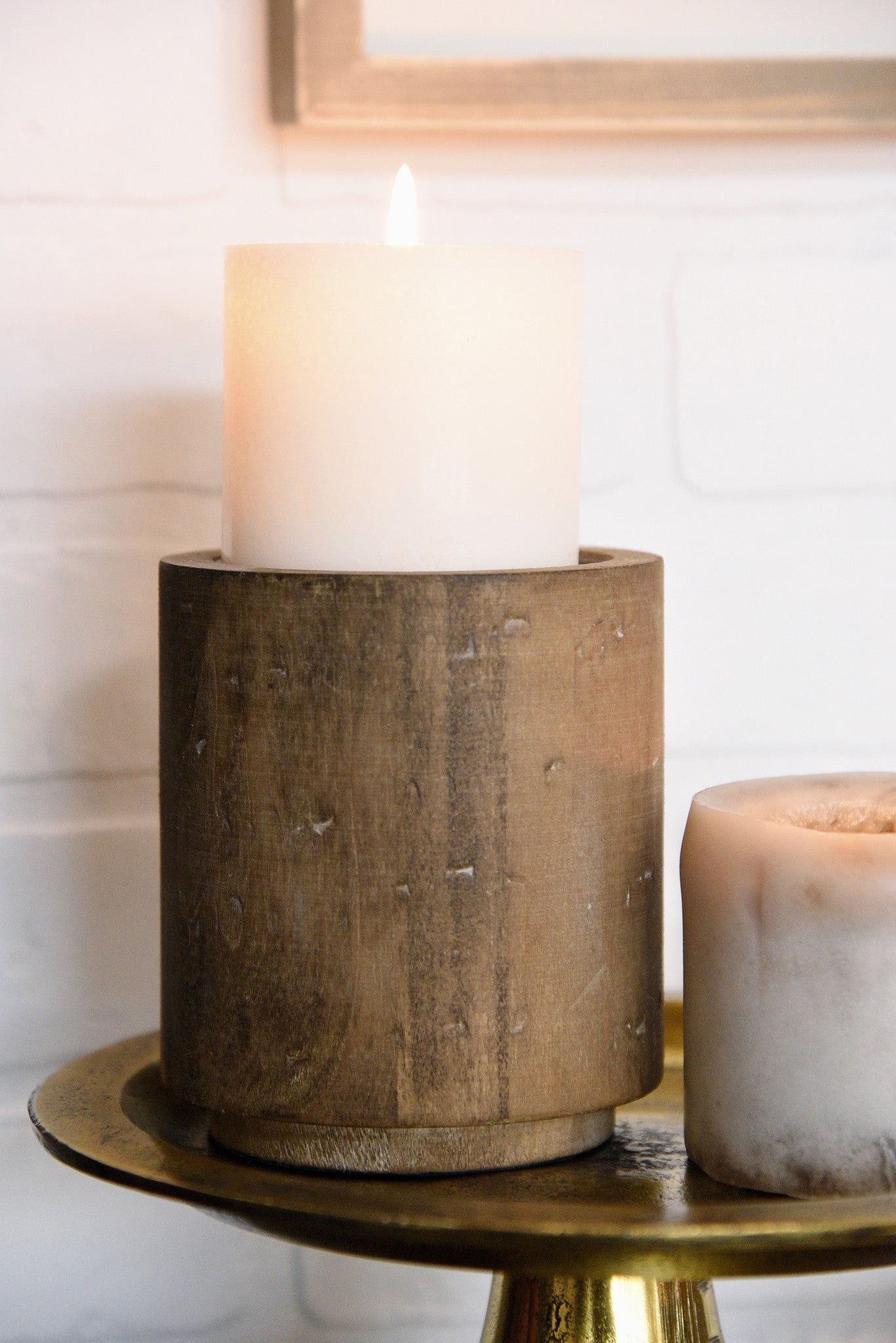 Rustic wood and metal pillar candle holders set of 2 for Rustic house candles
