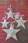 Rustic White Wash Willow Stars with Ribbon - Set of Five