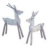 Rustic White Washed Wood Twig Reindeer - Set of Two