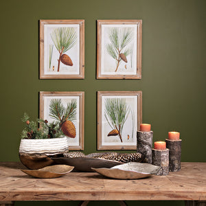Rustic Pine Tree and Pine Cone Wall Art - Set of Four