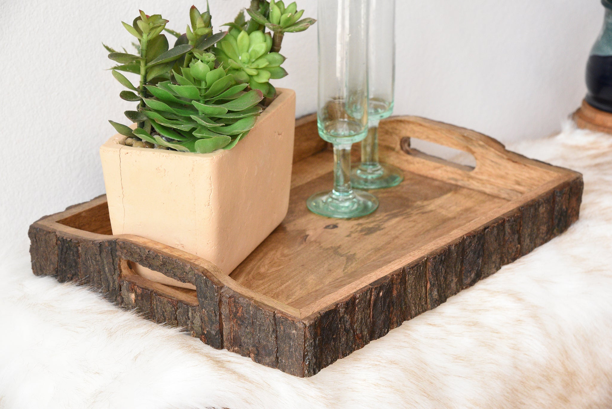 Rustic Wood Bark Serving Trays - Set of 3