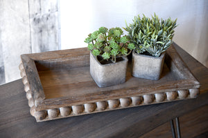 Rustic Wood Bead Detail Trays - Set of 2