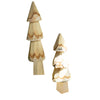 Rustic Wood Carved Christmas Trees - Set of Two