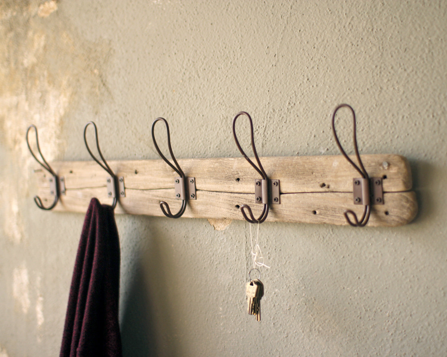 Rustic Recycled Wood Coat Racks With Metal Hooks - Set of Two