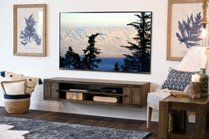 Rustic Barn Wood Style Floating TV Stand - Farmhouse - Spice