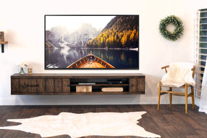 Rustic Barn Wood Style Floating TV Stand Wall Mount Entertainment Center - Farmhouse - Spice