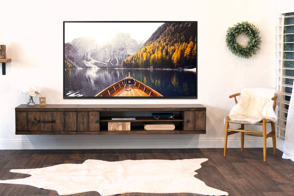Rustic Barn Wood Style Floating Tv Stand Wall Mount