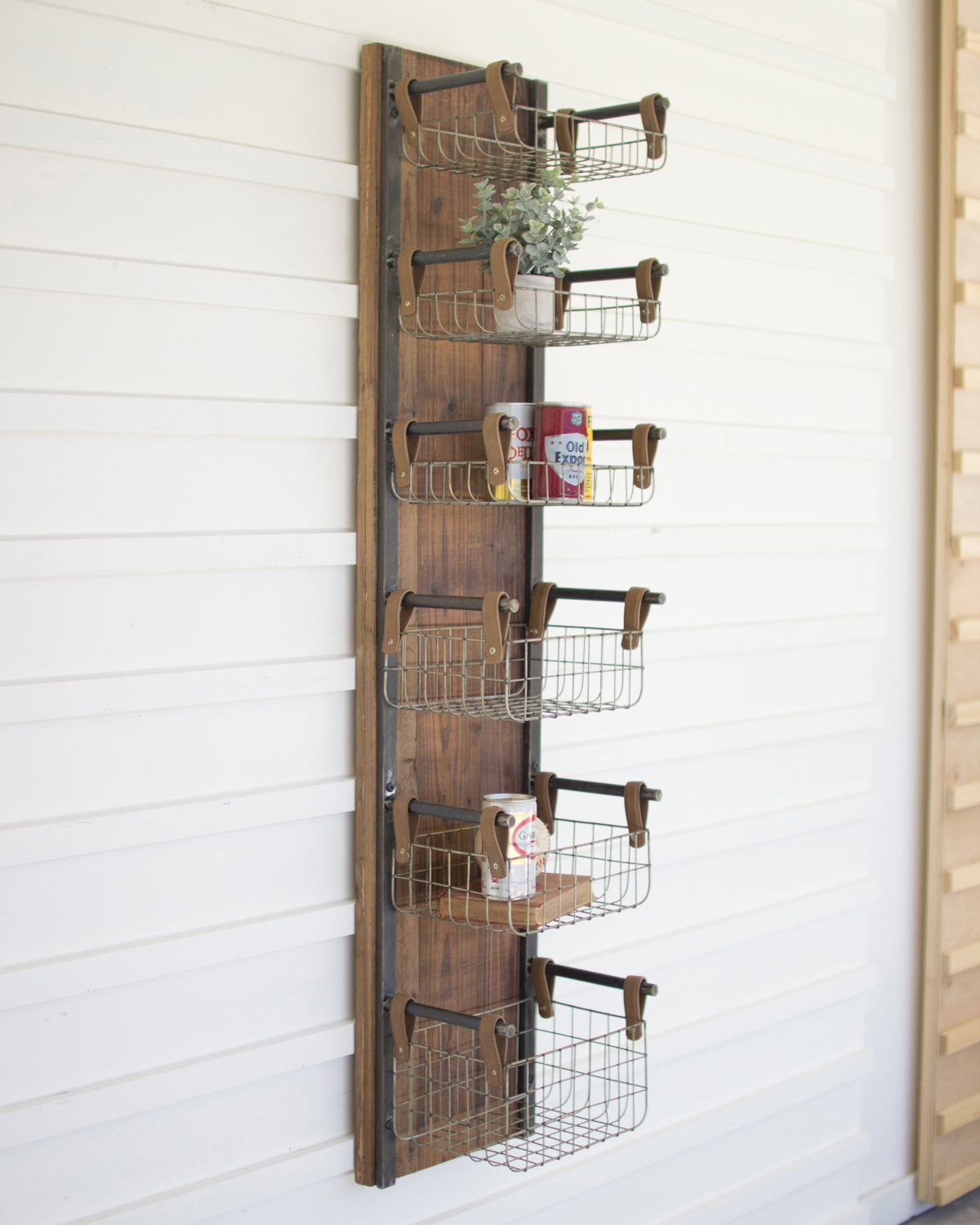Recycled Wood Amp Metal Floating Wire Basket Wall Shelves