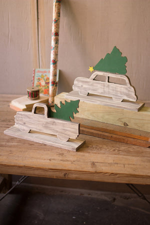 Vintage Wood Truck and Christmas Tree - Set of Two