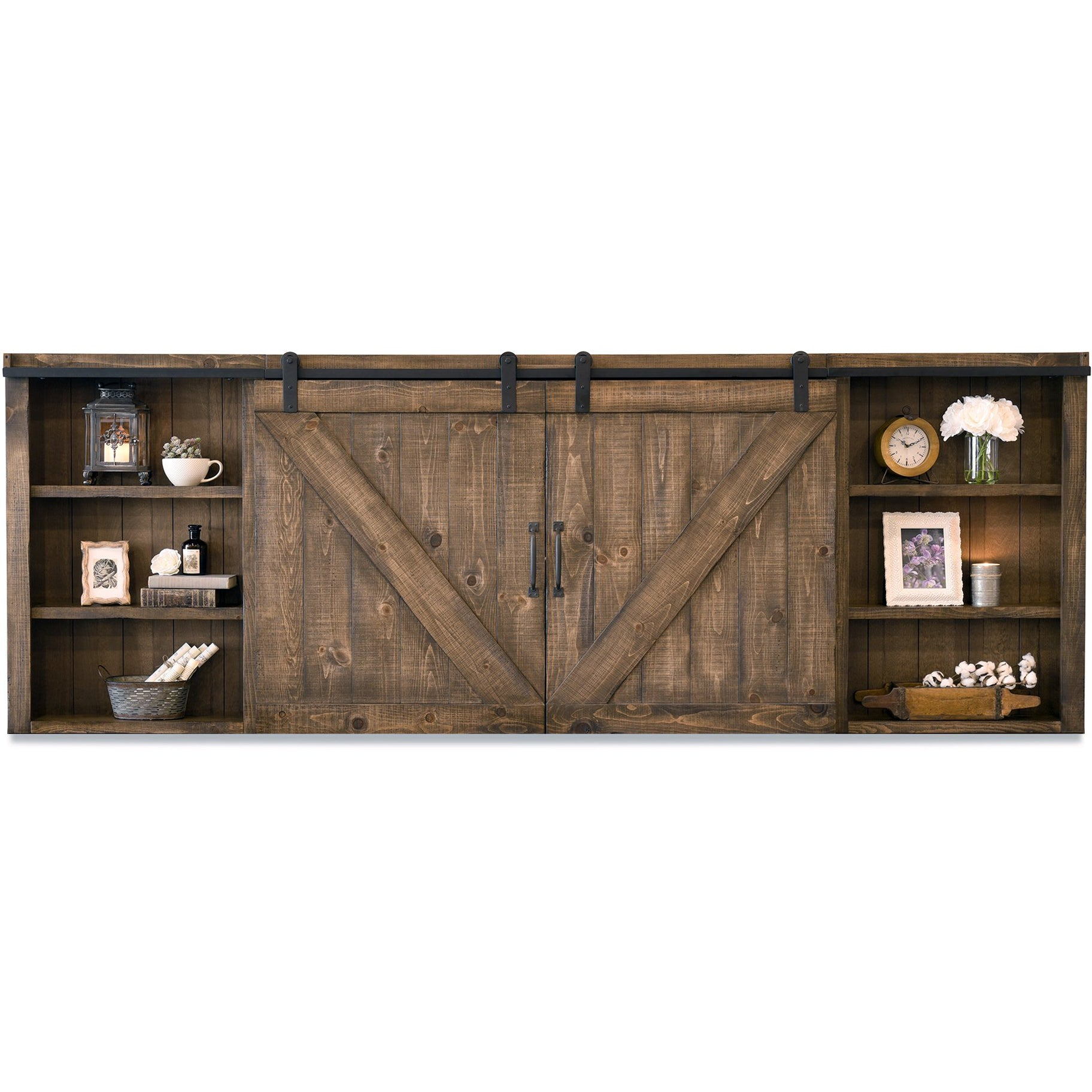 Rustic Wood Wall Mount Barn Door Media Tv Cabinet Cover Farmhouse Spice