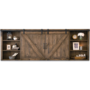 Rustic Wood Wall Mount Barn Door Media TV Cabinet Cover - Farmhouse - Spice
