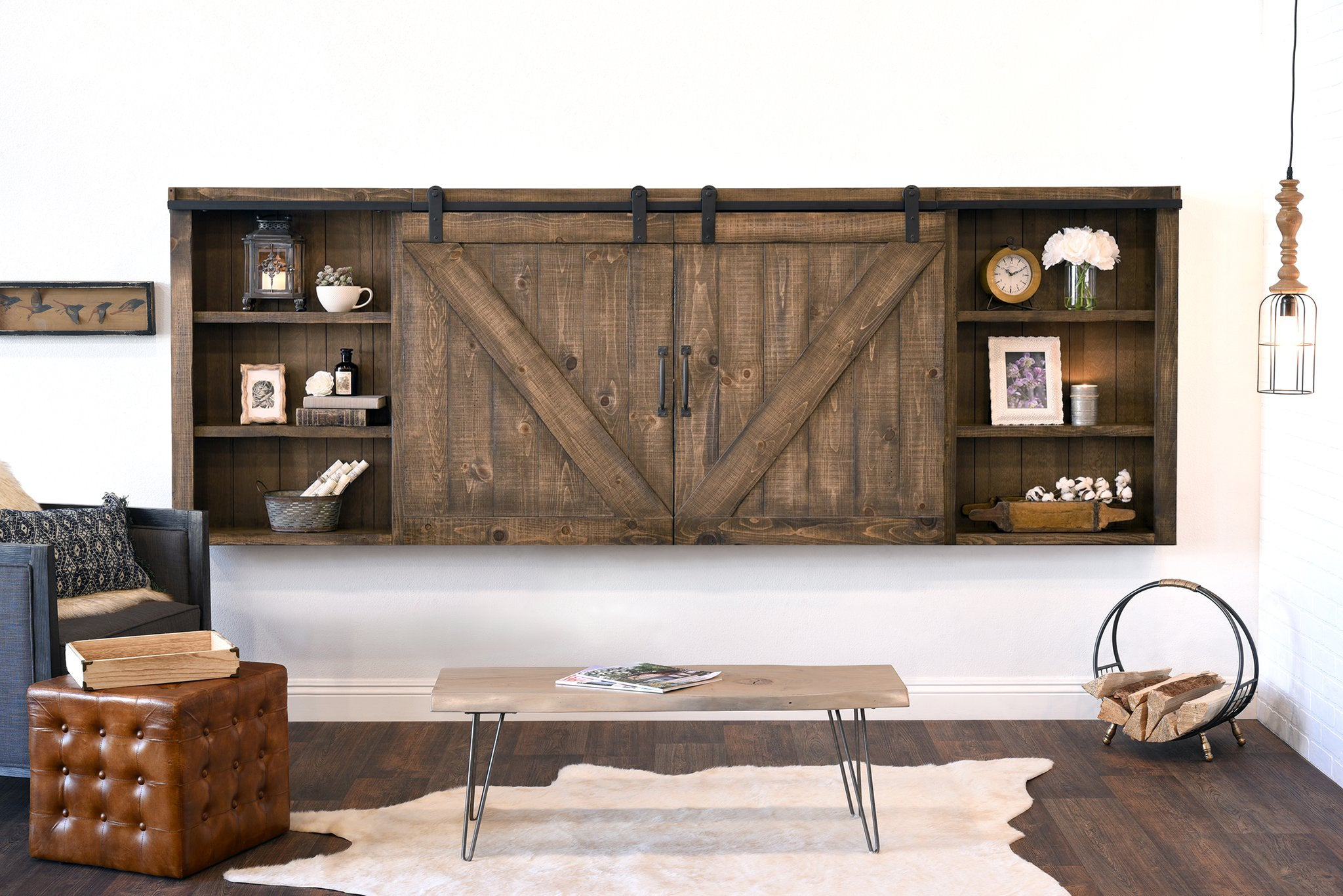rustic wood wall mount barn door media tv cabinet cover farmhouse rh woodwaves com wall mount tv cabinet design wall mount tv cabinet malaysia