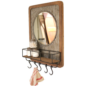 Rustic Wood and Metal Farmhouse Shelf With Mirror and Hooks