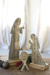 Rustic Wood Nativity Display - Three Pieces