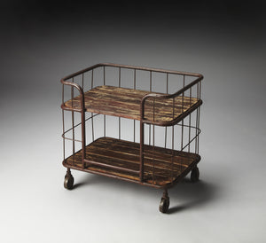 Rustic Wood and Iron Industrial Supply Cart