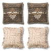 Rustic Wool Brown, Grey and Beige Fringed Pillows - Set of Four