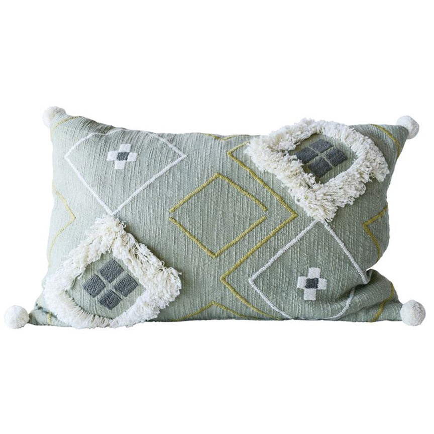 Sage Green Boho Southwest Fringe Pom Pom Pillow