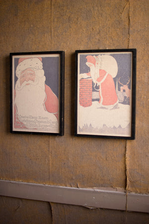 Santa Claus Rustic Christmas Holiday Wall Art Decor - Set of 2