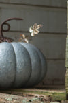 Medium Galvanized Metal Pumpkin Halloween Fall Decoration
