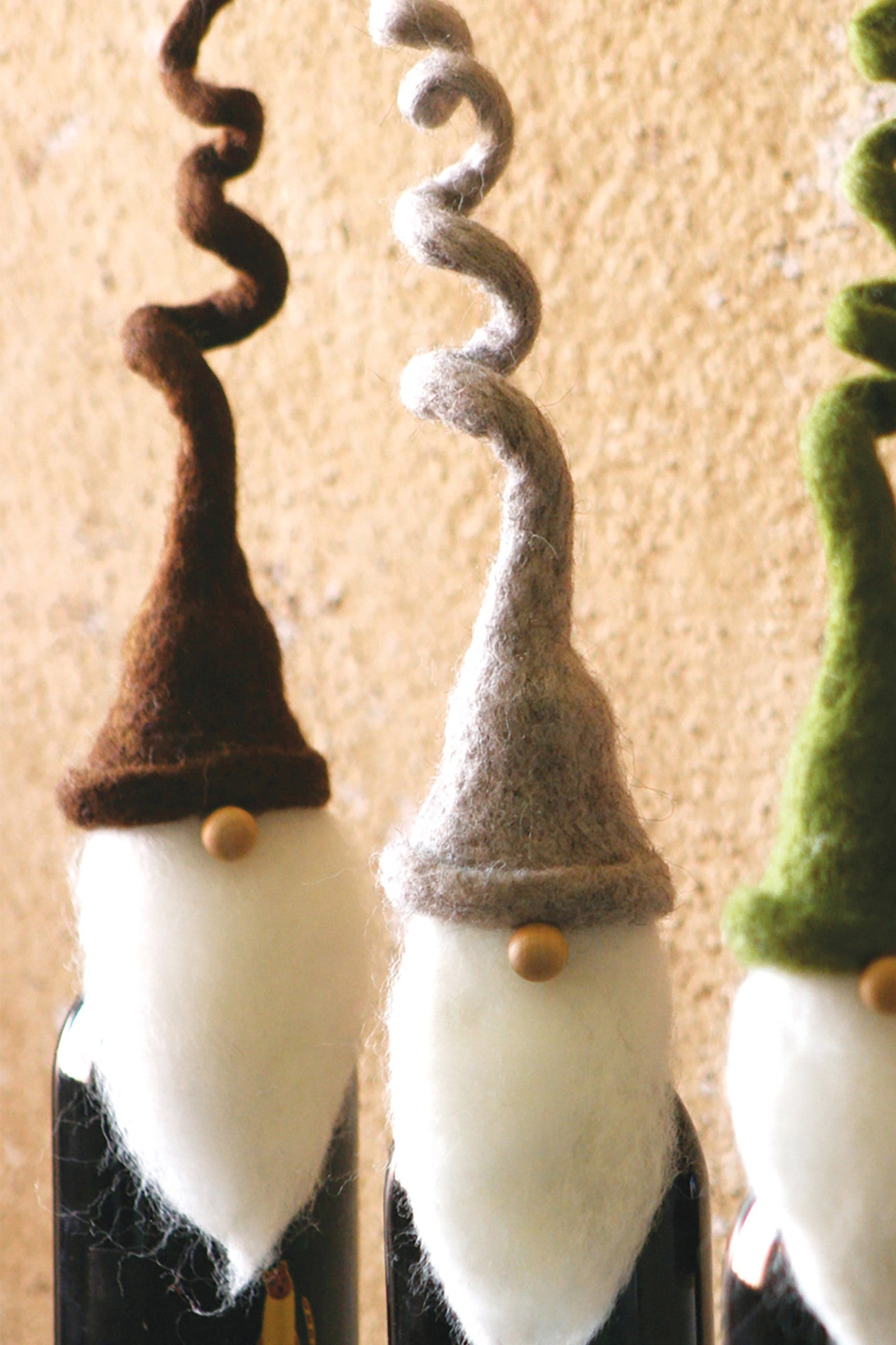 Santa Hat Wine Bottle Toppers - Set of Four