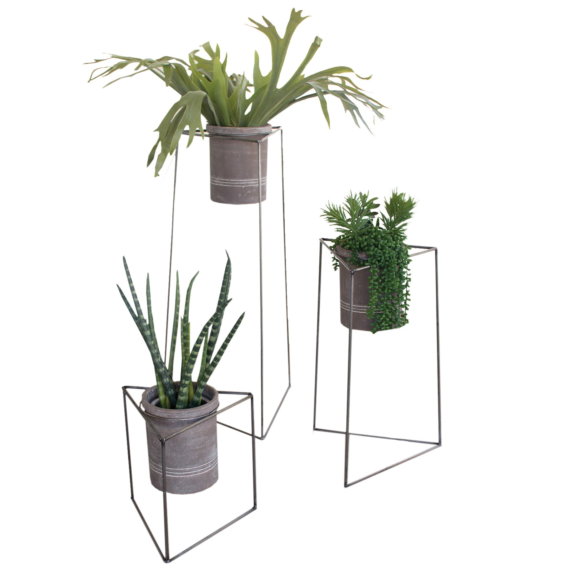 set of  industrial modern triangle planter stands with gray clay pots. modern planters  woodwaves