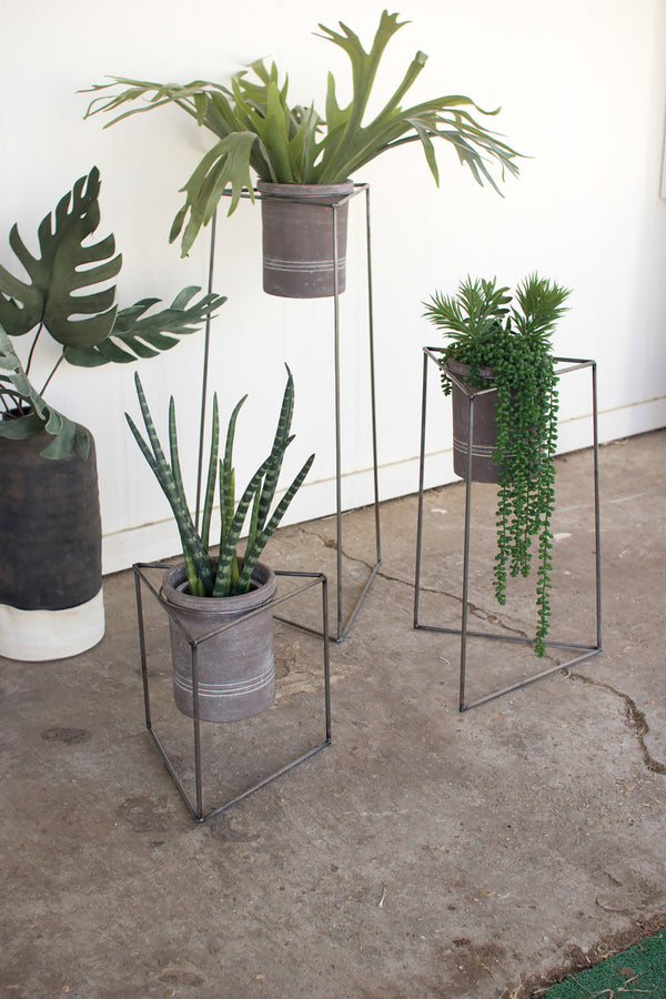 Set Of 3 Industrial Modern Triangle Planter Stands With