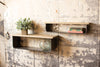 Set of Two Industrial Modern Metal and Wood Wall Shelves