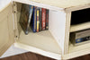 Shabby Chic Cottage Antique White Floating Wall Mount TV Stand - Vintage - Console