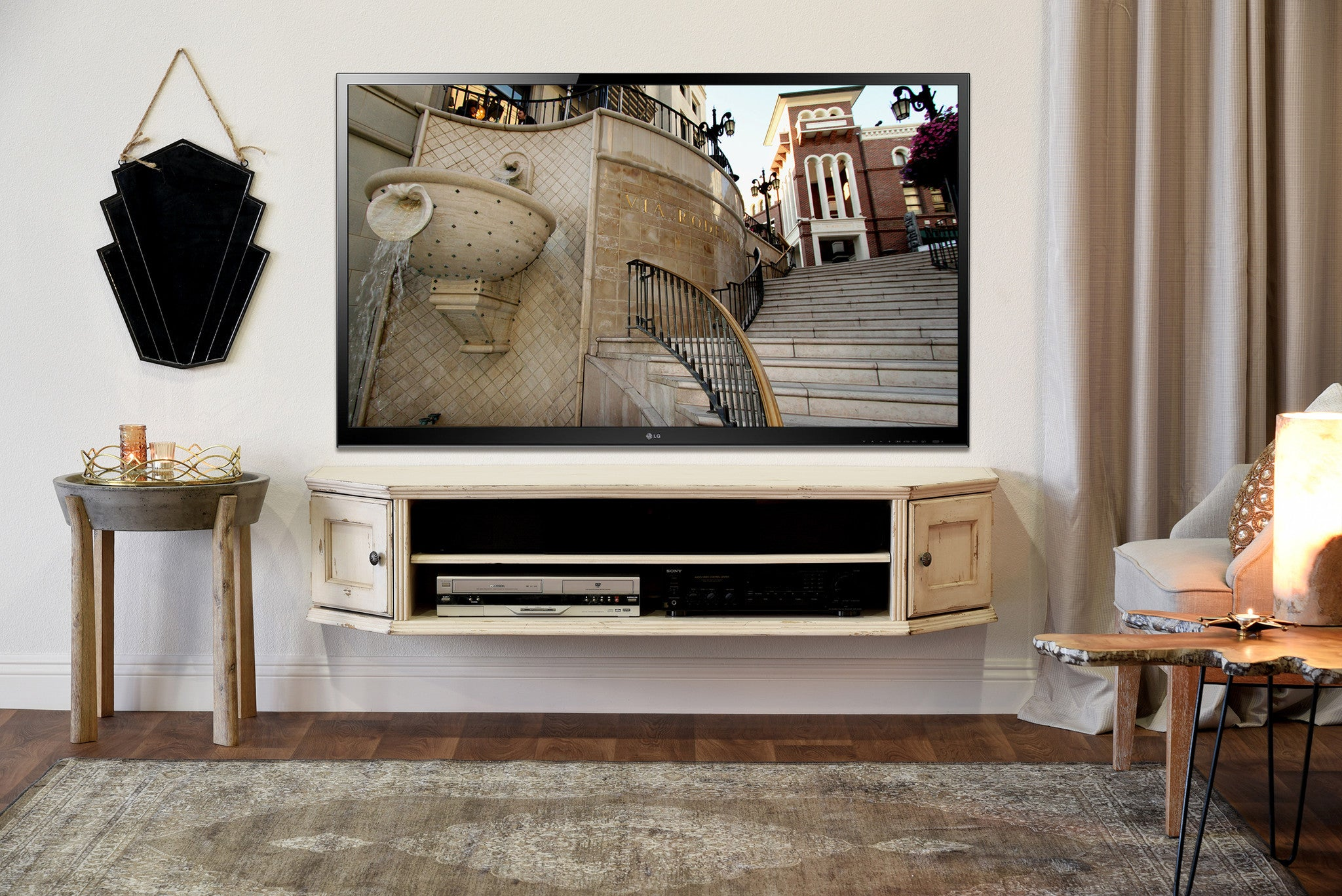 aiyorikane stand white tv antique with cottage net stands