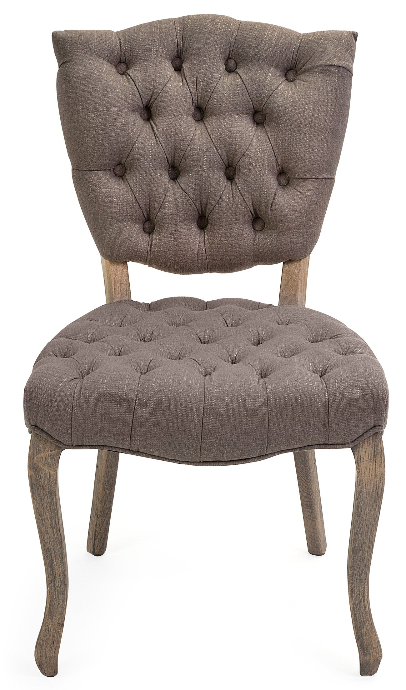 Gray French Chic Tufted Linen Farmhouse Chairs   Set Of 2
