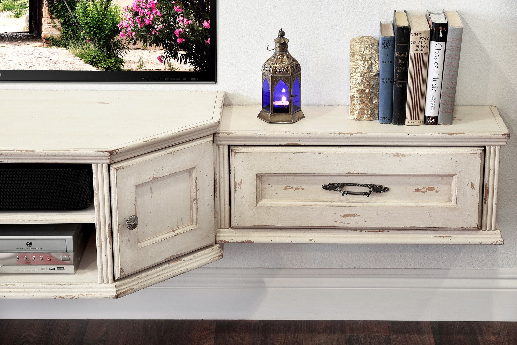 French Farmhouse Shabby Chic Antique White Floating TV Stand Wall Mount Entertainment Center