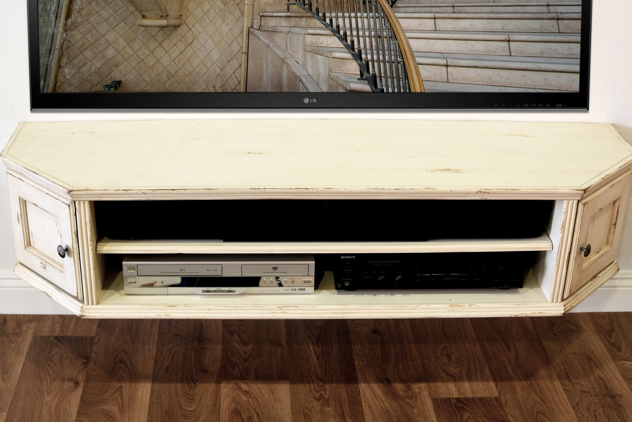 shabby chic cottage antique white floating wall mount tv stand vintage console