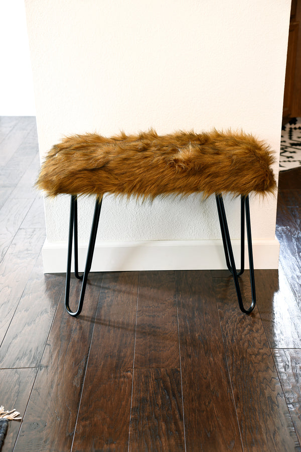 Moroccan Boho Upholstered Fur Bench Woodwaves