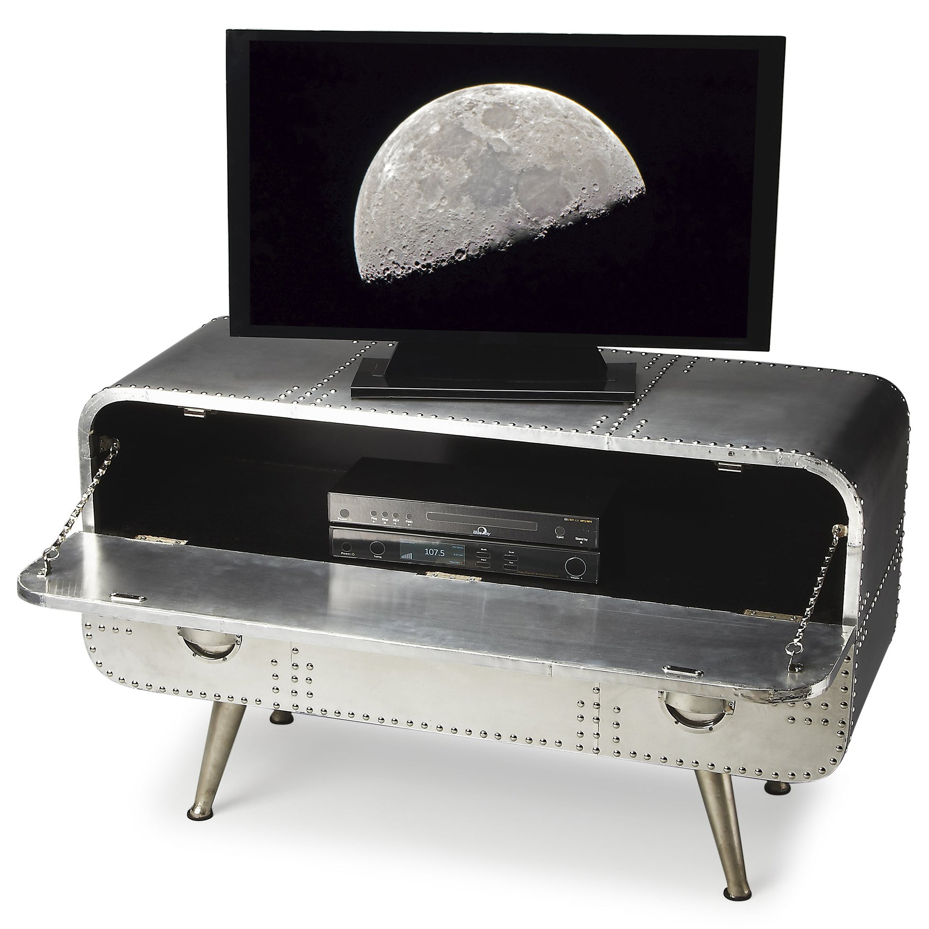 Silver Finish Riveted Aluminum Console Airplane Spacecraft Style TV Stand