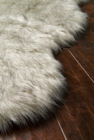 Silver Gray Faux Sheepskin Fur Rug