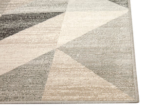 Modern Silver Gray and White Modern Geometric Triangle Pattern Rug