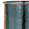 Small Aged Gold Brass Finish Smoked Blue Glass Hurricane Candle Holder